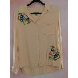 Primark Womens Button-Down Shirt Embroidered Sz 8